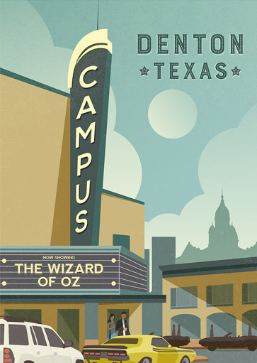 Denton Texas Campus Theatre Print